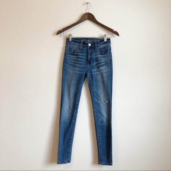 AEO High Waist Stretch Skinny Denim Jeans Blue